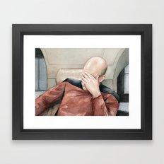Picard Facepalm Meme Funny Geek Sci-fi Captain Picard TNG Framed Art Print
