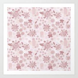 Pop Art Floral in Mauve Art Print