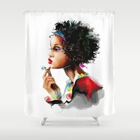 african Shower Curtains featuring African woman by tatiana-teni