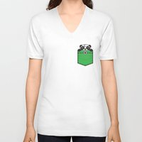 pocket V-neck T-shirts featuring Pocket Panda by Steven Toang