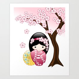 Japanese Spring Kokeshi Doll Art Print