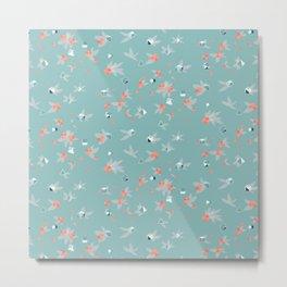 Polyhedral Dice- Coastal Peony Metal Print