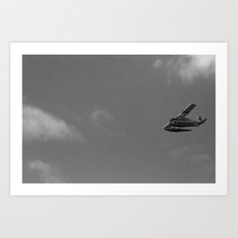 Plane in sky over Seattle Art Print