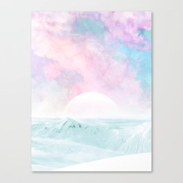 Winter Landscape on Candy Marble Sky Canvas Print