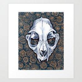 Fancy Cat Skull Art Print