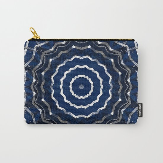 Blue stripes on white grunge textured kaleidoscope Carry-All Pouch