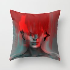 Red Head Woman Throw Pillow