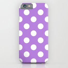 Lavender (floral) - violet - White Polka Dots - Pois Pattern iPhone Case