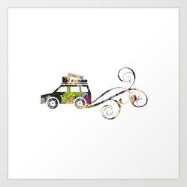 Cute Car Fabric art Art Print