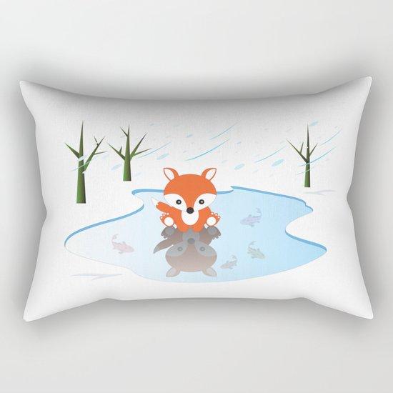 Little Fox On Ice Rectangular Pillow