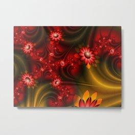 Awakening, Abstact Fantasy Flowers Fractal Art Metal Print