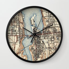 Vintage Map of Olympia Washington (1934) Wall Clock