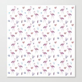 Aquatic & Flamingo Watercolour Pattern Canvas Print