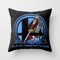 super smash bros Throw Pillows featuring Marth - Super Smash Bros. by Donkey Inferno