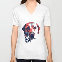 labrador V-neck T-shirts featuring Patriotic Labrador  by Rachel Barrett