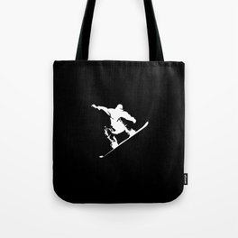 Snowboarding White Abstract Snow Boarder On Black Tote Bag