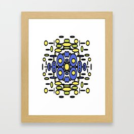 Mod Circle Madness blue yellow and green Framed Art Print