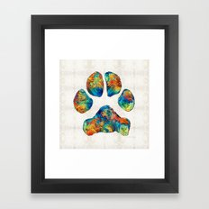 Colorful Dog Paw Print by Sharon Cummings Framed Art Print