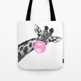 Bubble Gum Black and White Sneaky Giraffee Tote Bag