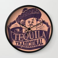tequila Wall Clocks featuring Tequila Tradicional by Tshirt-Factory