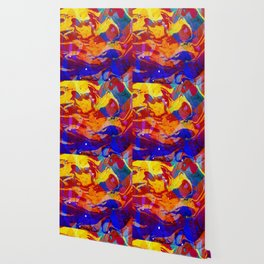 Abstract Blue Red and Yellow Dark Marble Colorful Pattern Wallpaper