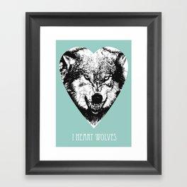 i heart wolves Framed Art Print