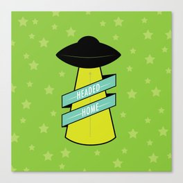 Headed Home UFO: Green Canvas Print