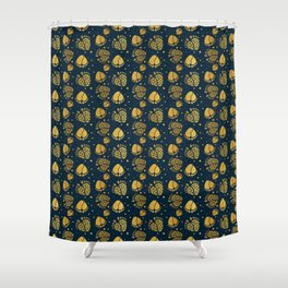 Baby Feet and Hearts Seamless Pattern in gold color Shower Curtain