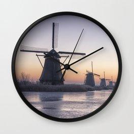 Windmills in Winter Wall Clock