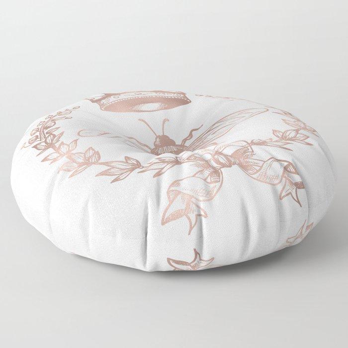 Queen Bee in Rose Gold Pink Floor Pillow