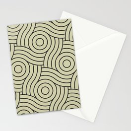 Circle Swirl Pattern Muted Green Inspired By Natural Olive Green - Martinique Dawn - Asian Silk Stationery Cards