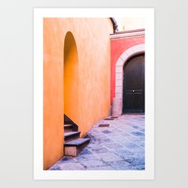 Colored yellow and red buildings Art Print