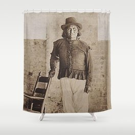 Geronimo - Very Rare 1900 Native American Apache tribe black and white photograph - photography  Shower Curtain