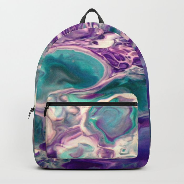 Lilies On A Purple Pond - Abstract Acrylic Art by Fluid Nature Rucksack