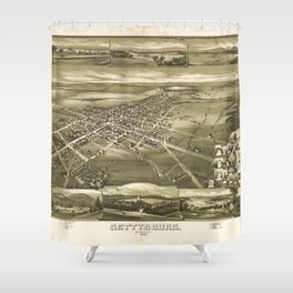 Vintage Pictorial Map of Gettysburg PA (1888) Shower Curtain