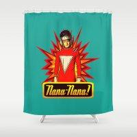 robin williams Shower Curtains featuring Nanu Nanu  |  Mork  |  Robin Williams Tribute by Silvio Ledbetter