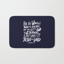 Romans 6: 23 x Navy Bath Mat