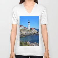 maine V-neck T-shirts featuring Maine Icon by Exquisite Photography by Lanis Rossi
