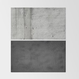 Raw Concrete and Black Leather Throw Blanket