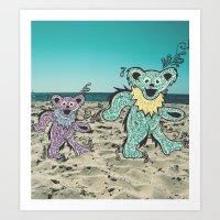 grateful dead Art Prints featuring Grateful Dead Beach Cruise by Charlotte hills