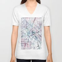 dallas V-neck T-shirts featuring Dallas map by MapMapMaps.Watercolors