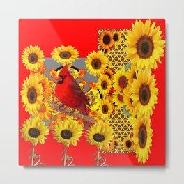 RED CARDINAL BIRD YELLOW SUNFLOWERS  ABSTRACT Metal Print