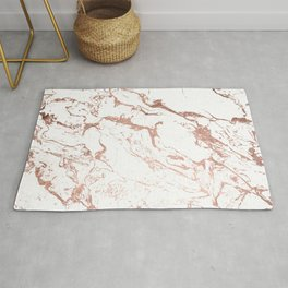 Modern chic faux rose gold white marble pattern Rug