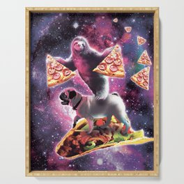 Space Sloth With Pizza On Pug Riding Taco Serving Tray