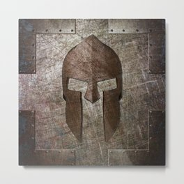 Molon Labe - Spartan Helmet on Riveted steel Metal Print