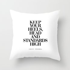 Keep Your Heels High Inspirational Quote Typography Print Throw Pillow