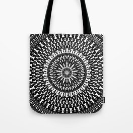 Chess Pieces Mandala - Grayscale Tote Bag