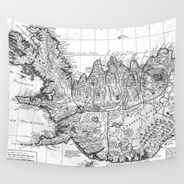 Vintage Map of Iceland (1761) BW Wall Tapestry