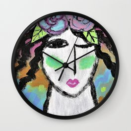 Roses in Her Hair Abstract Portrait of a Woman Wall Clock