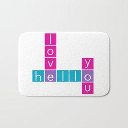 Hello I Love You Crossword Bath Mat